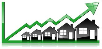 Growing Real Estate Sales - Graph with Houses. Growing real estate sales - 3D illustration of five house-shaped symbols and a graph of growth with a green arrow Royalty Free Stock Photos