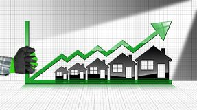 Growing Real Estate Sales - Graph with Houses. Growing real estate sales - 3D illustration of five house-shaped symbols, a hand with work glove and a graph of Stock Images