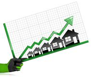 Growing Real Estate Sales - Graph with Houses. Growing real estate sales - Hand with a work glove holding a graph of growth with five houses and green arrow - 3D Royalty Free Stock Photography