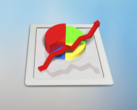 Growing red arrow and pie on tablet. 3D growing red arrow and pie on tablet Royalty Free Stock Photography