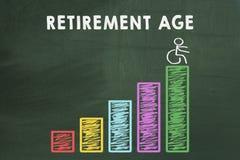 Growing retirement age chart stock image