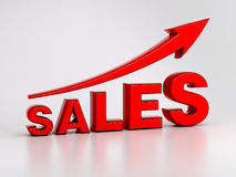 Growing Sales Concept. 3d text of representation of growing sales Stock Photos