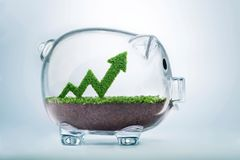 Growing savings arrow graph concept. Grass growing in the shape of an arrow graph, inside a transparent piggy bank, symbolising the care, dedication and Stock Image