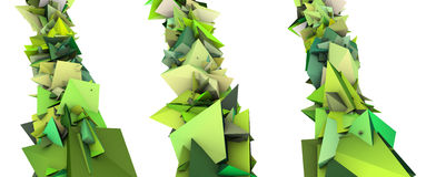 Growing shape in multiple green. 3d render growing shape in multiple shades of green Royalty Free Stock Photos