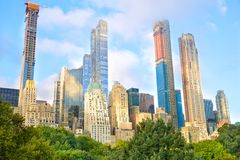 Manhattan buildings from Central Park stock images