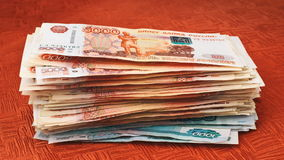Growing stack of rubles stock video