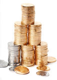 Growing stacks of coins. On Closeup Stock Photo