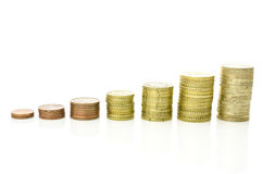 Growing stacks of coins. Growing stacks of Euro coins.  over white background Royalty Free Stock Photography