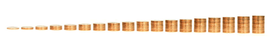 Growing Stacks of Gold Coins on White Background Royalty Free Stock Image