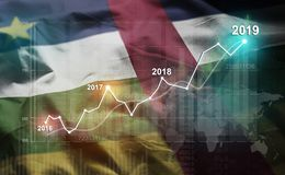 Growing Statistic Financial 2019 Against Central African Republic Flag stock illustration