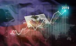 Growing Statistic Financial 2019 Against Haiti Flag.  stock illustration