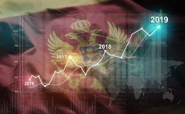Growing Statistic Financial 2019 Against Montenegro Flag stock illustration