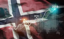 Growing Statistic Financial 2019 Against Norway Flag.  vector illustration