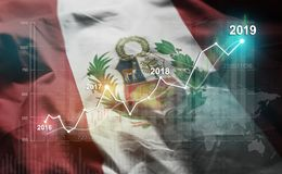 Growing Statistic Financial 2019 Against Peru Flag.  stock images
