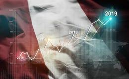 Growing Statistic Financial 2019 Against Peru Flag.  royalty free illustration
