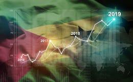 Growing Statistic Financial 2019 Against São Tomé and Príncipe Flag.  stock photo