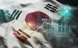 Growing Statistic Financial 2019 Against South Korea Flag stock illustration