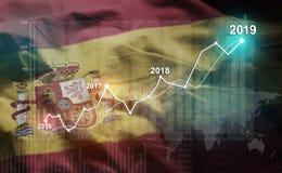 Growing Statistic Financial 2019 Against Spain Flag.  vector illustration