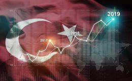 Growing Statistic Financial 2019 Against Turkey Flag.  stock illustration