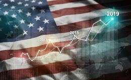 Growing Statistic Financial 2019 Against United States of America Flag vector illustration