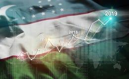 Growing Statistic Financial 2019 Against Uzbekistan Flag.  stock images