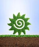 Growing summer concept. Spring and summer concept. Grass growing in the shape of the Sun, symbolising the need to protect the environment and reconnect with Royalty Free Stock Photos