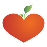 Growing tree from the red heart. A vector illustration, leaves growing from the big red heart Stock Image
