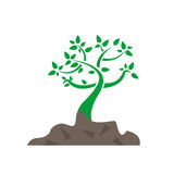 Growing tree and soil illustration design Royalty Free Stock Photography