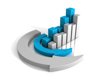 Growing Uf Finance Bar Chart Diagram With Arrow Around. 3d Render Illustration Royalty Free Stock Image