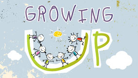 Growing up. Conceptual vector illustration. Group of kids, doodle style hand drawn drawing Royalty Free Stock Photos