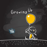 Growing up. Conceptual vector illustration. Kid holding a balloon, chalk on blackboard doodle style hand drawn drawing Stock Image
