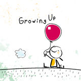 Growing up. Conceptual vector illustration. Kid holding a balloon, lineart doodle style hand drawn drawing Royalty Free Stock Image