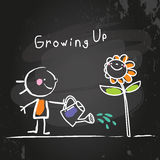 Growing up. Conceptual vector illustration. Kid watering a flower, chalk on blackboard doodle style hand drawn drawing Stock Images