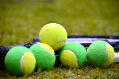 Growing up in the courts. A tennis ball, solid, poses with several balls used in children's tennis training, which are of two colors. The background of the photo stock photography