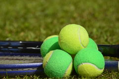 Growing up in the courts. A tennis ball, solid, poses with several balls used in children's tennis training, which are of two colors. The background of the photo royalty free stock photography