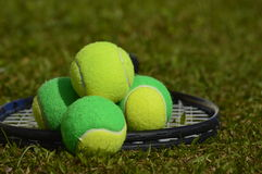Growing up in the courts. A tennis ball, solid, poses with several balls used in children's tennis training, which are of two colors. The background of the photo royalty free stock images