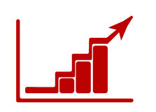Growing up graphic with rising arrow and diagram. Red flat icon. Vector illustration Royalty Free Stock Photography