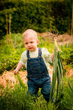Growing vegetables - baby with leeks Royalty Free Stock Images