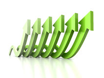 Growing wave arrows green group on white reflection Stock Photos