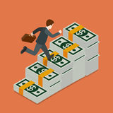Growing wealth businessman running dollar flat isometric vector Royalty Free Stock Images