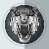 Growl Siberian tiger. Illustrator of growl Siberian tiger in paper art style Stock Images