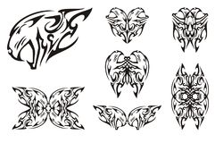 Tribal aggressive tiger head symbols Royalty Free Stock Photo