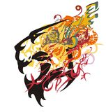 Growling tiger head colorful splashes Stock Photos