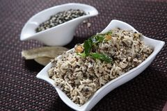 Black Gram Rice, Basumathi arisi ulundu satham, Ulund ki dal chawal. Grown in the foothills of the Himalayas, basmati is small, long-grained non-glutinous rice Royalty Free Stock Photography