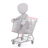 Grown man rolling in shopping cart Royalty Free Stock Images