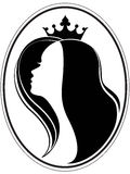 Grown princess. Silhouette of a girl and a crown on a different layers Royalty Free Stock Images