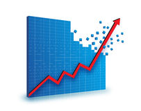 Red line chart graphics. Red line chart graphic illustrated breaking out of blue mosaic background Royalty Free Stock Photography