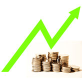 Growth. Coins with chart on the top simbolysing savings growth Royalty Free Stock Image