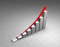 Growth. Arrow and bar chart illustrating a steep increase ; 3d computer render Stock Photo