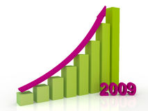 Growth in 2009. Success business growth in 2009 year graphic concept royalty free illustration